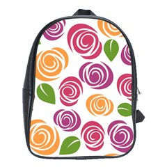 Colorful Seamless Floral Flowers Pattern Wallpaper Background School Bags (xl)