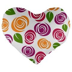 Colorful Seamless Floral Flowers Pattern Wallpaper Background Large 19  Premium Heart Shape Cushions