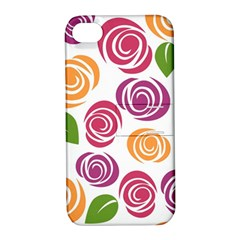 Colorful Seamless Floral Flowers Pattern Wallpaper Background Apple Iphone 4/4s Hardshell Case With Stand