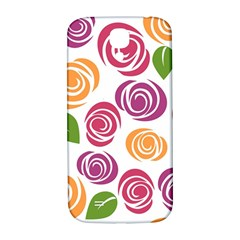 Colorful Seamless Floral Flowers Pattern Wallpaper Background Samsung Galaxy S4 I9500/I9505  Hardshell Back Case