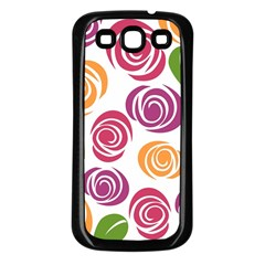 Colorful Seamless Floral Flowers Pattern Wallpaper Background Samsung Galaxy S3 Back Case (black)