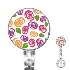Colorful Seamless Floral Flowers Pattern Wallpaper Background Stainless Steel Nurses Watch
