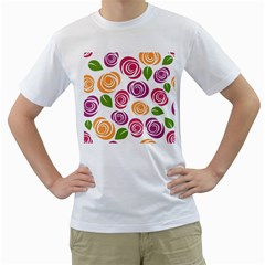 Colorful Seamless Floral Flowers Pattern Wallpaper Background Men s T Shirt (white)