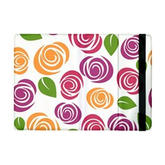 Colorful Seamless Floral Flowers Pattern Wallpaper Background iPad Mini 2 Flip Cases