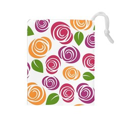 Colorful Seamless Floral Flowers Pattern Wallpaper Background Drawstring Pouches (Large)