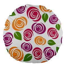 Colorful Seamless Floral Flowers Pattern Wallpaper Background Large 18  Premium Flano Round Cushions