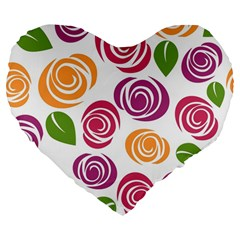Colorful Seamless Floral Flowers Pattern Wallpaper Background Large 19  Premium Flano Heart Shape Cushions