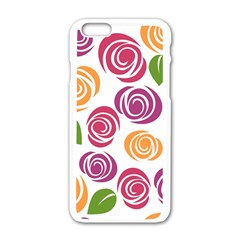 Colorful Seamless Floral Flowers Pattern Wallpaper Background Apple Iphone 6/6s White Enamel Case