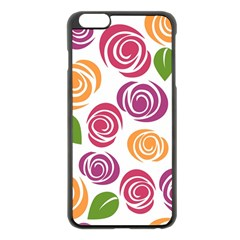 Colorful Seamless Floral Flowers Pattern Wallpaper Background Apple Iphone 6 Plus/6s Plus Black Enamel Case