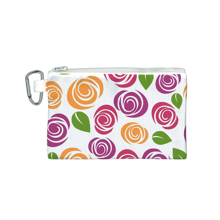 Colorful Seamless Floral Flowers Pattern Wallpaper Background Canvas Cosmetic Bag (S)