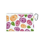 Colorful Seamless Floral Flowers Pattern Wallpaper Background Canvas Cosmetic Bag (S) Back