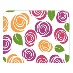 Colorful Seamless Floral Flowers Pattern Wallpaper Background Double Sided Flano Blanket (large)