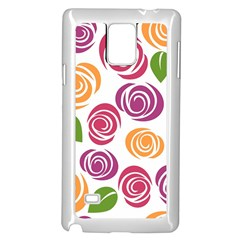 Colorful Seamless Floral Flowers Pattern Wallpaper Background Samsung Galaxy Note 4 Case (white)