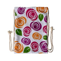 Colorful Seamless Floral Flowers Pattern Wallpaper Background Drawstring Bag (small)