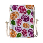 Colorful Seamless Floral Flowers Pattern Wallpaper Background Drawstring Bag (Small) Back