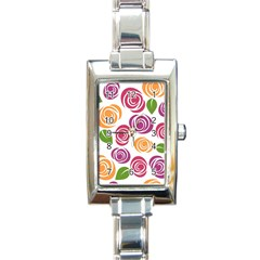 Colorful Seamless Floral Flowers Pattern Wallpaper Background Rectangle Italian Charm Watch