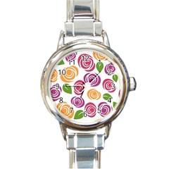 Colorful Seamless Floral Flowers Pattern Wallpaper Background Round Italian Charm Watch