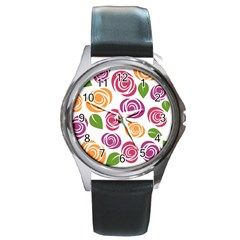 Colorful Seamless Floral Flowers Pattern Wallpaper Background Round Metal Watch