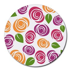 Colorful Seamless Floral Flowers Pattern Wallpaper Background Round Mousepads