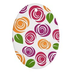 Colorful Seamless Floral Flowers Pattern Wallpaper Background Ornament (oval)