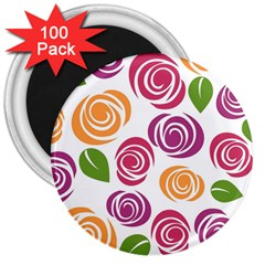 Colorful Seamless Floral Flowers Pattern Wallpaper Background 3  Magnets (100 Pack)