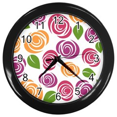Colorful Seamless Floral Flowers Pattern Wallpaper Background Wall Clocks (black)