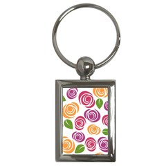 Colorful Seamless Floral Flowers Pattern Wallpaper Background Key Chains (Rectangle)