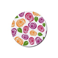 Colorful Seamless Floral Flowers Pattern Wallpaper Background Rubber Round Coaster (4 Pack)
