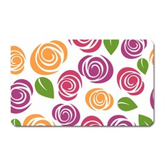 Colorful Seamless Floral Flowers Pattern Wallpaper Background Magnet (rectangular)