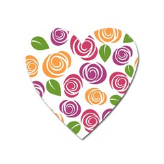 Colorful Seamless Floral Flowers Pattern Wallpaper Background Heart Magnet
