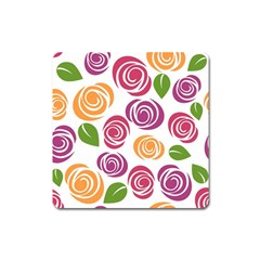 Colorful Seamless Floral Flowers Pattern Wallpaper Background Square Magnet