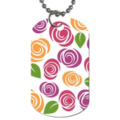 Colorful Seamless Floral Flowers Pattern Wallpaper Background Dog Tag (One Side)