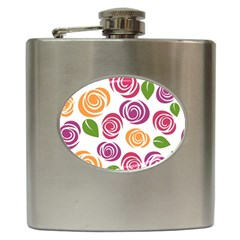 Colorful Seamless Floral Flowers Pattern Wallpaper Background Hip Flask (6 Oz)