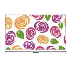 Colorful Seamless Floral Flowers Pattern Wallpaper Background Business Card Holders