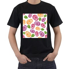Colorful Seamless Floral Flowers Pattern Wallpaper Background Men s T Shirt (black) (two Sided)