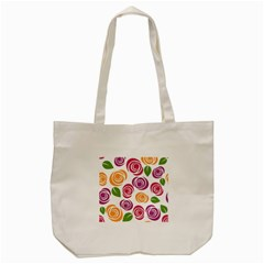 Colorful Seamless Floral Flowers Pattern Wallpaper Background Tote Bag (cream)