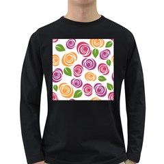 Colorful Seamless Floral Flowers Pattern Wallpaper Background Long Sleeve Dark T Shirts