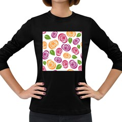 Colorful Seamless Floral Flowers Pattern Wallpaper Background Women s Long Sleeve Dark T Shirts