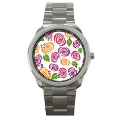 Colorful Seamless Floral Flowers Pattern Wallpaper Background Sport Metal Watch