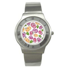 Colorful Seamless Floral Flowers Pattern Wallpaper Background Stainless Steel Watch