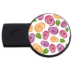 Colorful Seamless Floral Flowers Pattern Wallpaper Background USB Flash Drive Round (4 GB)