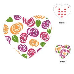Colorful Seamless Floral Flowers Pattern Wallpaper Background Playing Cards (heart)