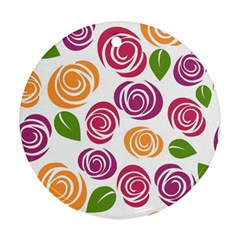 Colorful Seamless Floral Flowers Pattern Wallpaper Background Round Ornament (Two Sides)