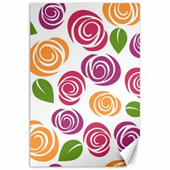 Colorful Seamless Floral Flowers Pattern Wallpaper Background Canvas 24  x 36