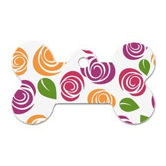 Colorful Seamless Floral Flowers Pattern Wallpaper Background Dog Tag Bone (Two Sides)