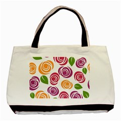 Colorful Seamless Floral Flowers Pattern Wallpaper Background Basic Tote Bag (two Sides)