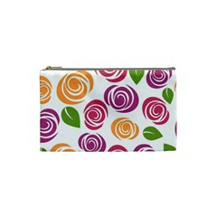 Colorful Seamless Floral Flowers Pattern Wallpaper Background Cosmetic Bag (small)
