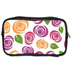 Colorful Seamless Floral Flowers Pattern Wallpaper Background Toiletries Bags 2 Side