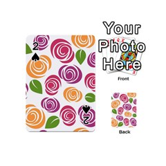 Colorful Seamless Floral Flowers Pattern Wallpaper Background Playing Cards 54 (mini)