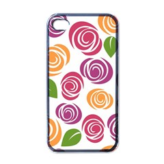 Colorful Seamless Floral Flowers Pattern Wallpaper Background Apple iPhone 4 Case (Black)